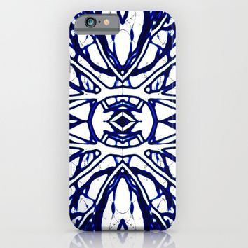 Blue And White abstract art iPhone & iPod Case by Art64 | Society6