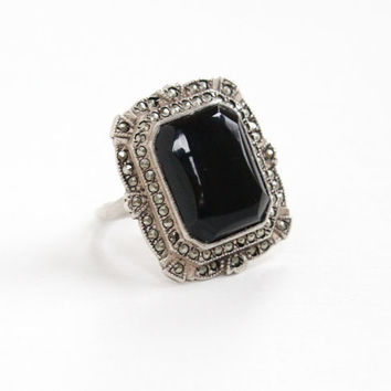 Vintage Art Deco Black Onyx & Marcasite Ring - Size 9 1920s 1930s Sterling Silver Statement Jewelry