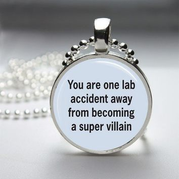 Lab Accident Funny Glass Tile Bezel Round Pendant Necklace