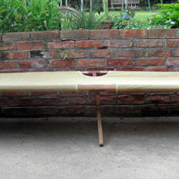 Vintage rustic Military Folding Camping cot / authentic army canvas cot bed