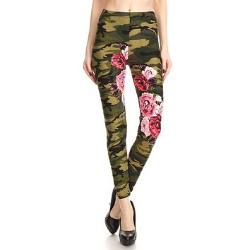 Women's Regular Camo Pink Rose Pattern Printed Leggings