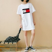 tommy jeans women loose casual multicolor letter pattern print short sleeve middle long section t shirt dress