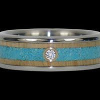 Wood and Turquoise Diamond Titanium Ring – Hawaii Titanium Rings