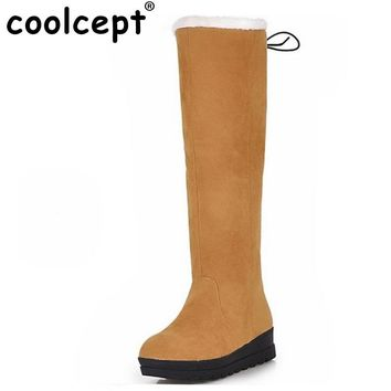Coolcept Size 35-43 New Women Boots Russia Keep Warm Outdoor Riding Boots Women's Fur Boots Winter Waterproof Snow Boots Shoes