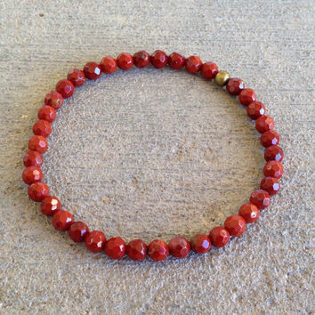 Delicate 'Root Chakra' Faceted Red Jasper Bracelet