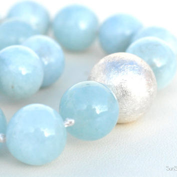 AquaMarine Necklace Sterling Silver by SunSan on Etsy