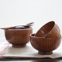NEW Natural Jujube Wooden Bowl Chinese Soup Rice Noodles Bowls Kids Lunch Box Kitchen Tableware For Baby Feeding Food Containers