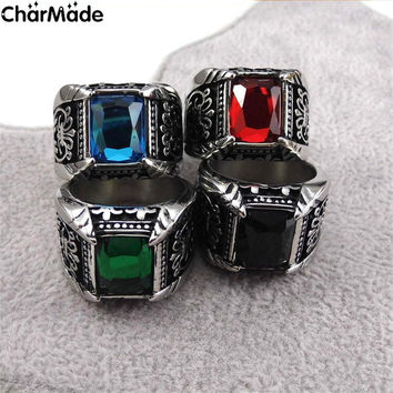 Vintage Antique Class Ring For Men Big Crystal Stone Finger Rings Male Men Jewelry Gold-color Stainless Steel Ring Gift R115