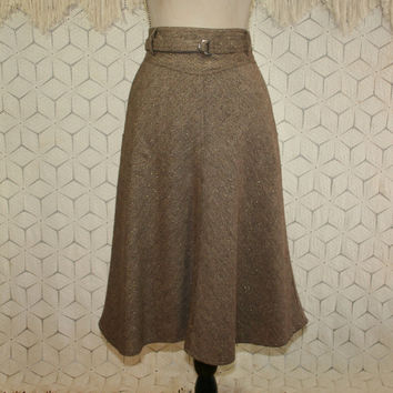 Brown Skirt Flared Small Size 6 Wool Midi Skirt with Pockets Fall Skirt Womens Skirts Gold Sparkly Vintage Clothing Womens Clothing