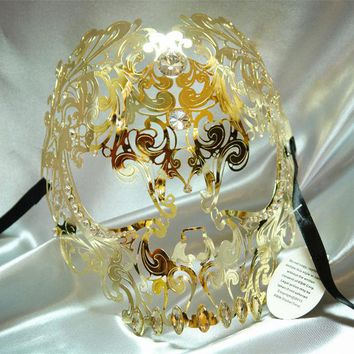 ONETOW Free Shipping High Quality Golden Skull Mask Phantom Metal Masquerade Mask  Halloween Funny  hollow full face ghoul mask