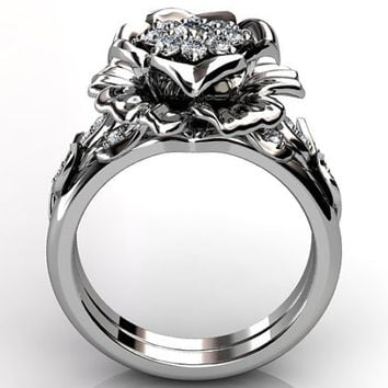 14k white gold diamond unusual unique floral engagement ring, bridal ring, wedding ring, engagement set ER-1064-1