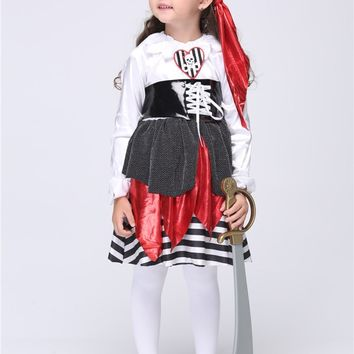 Girls Pirates Cosplay Costumes Halloween Performance Dress Tutu Dress Kids Carnival Outfit Party Pirate Dress