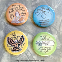 Twin Peaks Button Set: Log Lady, Black Lodge, Agent Cooper Laura Palmer Clues 4 Pin Badge Set