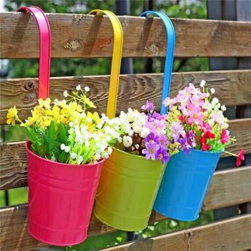 10pcs Fashion Metal Iron Flower Pot Hanging Balcony Garden Plant Planter Home Decor