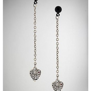 Skeleton Heart Dangle Earrings - Spencer's