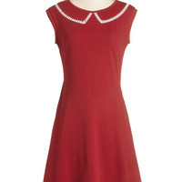 Myrtlewood Scholastic Mid-length Cap Sleeves A-line Author Outings Dress in Rouge
