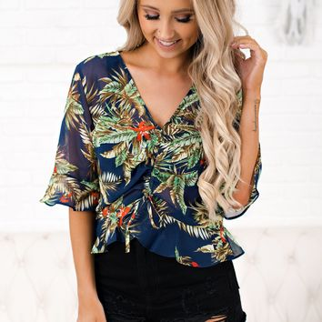 I'll Be There For You Printed Top (Navy)