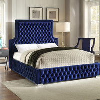 Sedona Navy Velvet King Bed