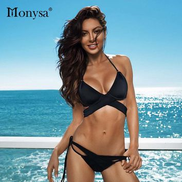 Monysa Sexy Low Waisted Bikinis Women Swimwear 2018 Summer Beach Bandage Bikinis Set Swimsuit Polyester Crossed Women Swim Wear