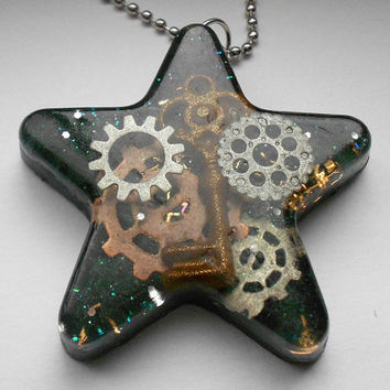 Steam Punk Big Star Pendant Necklace FREE by designsbyfelisa