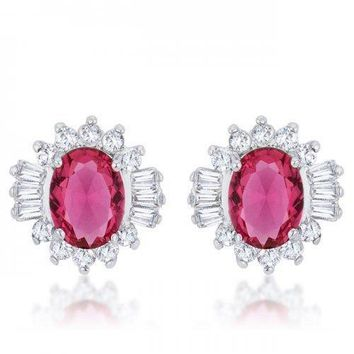 Chrisalee 3.3ct Ruby Cz Rhodium Classic Stud Earrings (pack of 1 ea)