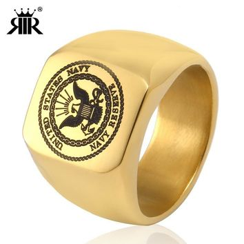 RIR Gold Eagle USA Military Ring United States MARINE CORPS US ARMY Men Rings Jewelry In Stainless Steel