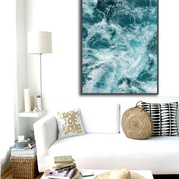 Ripples Poster PRINTABLE FILE - same price / 6 sizes, Waves art, Ocean art, Wall poster, Bedroom art, Nautical art, Sea photography