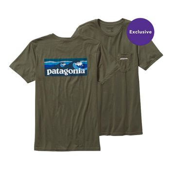Patagonia Men's Board Short Label Lightweight Cotton Pocket T-Shirt | Black