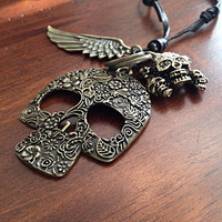 Car Accessories, Rearview Mirror Charm, Skull Keychain, Skull and Wing Rearview Mirror Charm with Cross and Wing