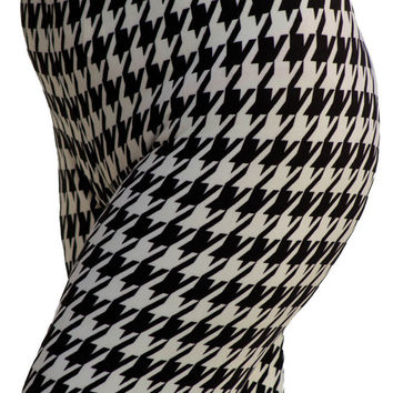 Women's Regular Hound Tooth Pattern Print Leggings - White Black