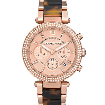 Parker Mid-Size Rose Golden Stainless Steel and Tortoise Acetate Parker Chronograph Glitz Watch