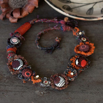 Statement ethnic necklace, tribal jewelry, crochet with fabric buttons and recycled bone beads - brown burnt orange khaki - OOAK