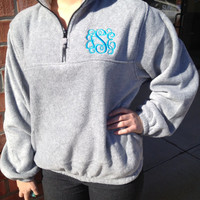Monogrammed Quarter Zip Fleece - Great for Winter, Christmas, Teens, College, Sorority, Greek and Birthday