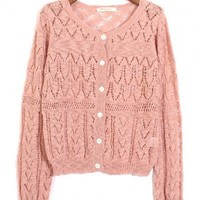 Round Neck Pink polyester long sleeve casual shrug sweater   style zz92700103 in