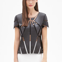 FOREVER 21 Faux Leather Paneled Top Black