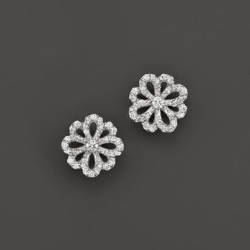 KC Designs Diamond Flower Stud Earrings in 14K White Gold | Bloomingdales's