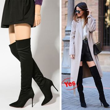 On Sale Hot Deal High Heel Pointed Toe Winter Skinny Knee-length Boots [11203300295]
