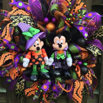 Halloween Wreath,Halloween Deco Mesh,Witch Wreath,Mickey Minnie Wreath,Halloween Mesh Wreath,Mickey Minnie Halloween,Front Door Halloween