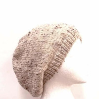 Tan Beanie with flecks of brown hat gift idea beret men women 4654