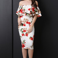 Off The Shoulder Floral Print Midi Dress