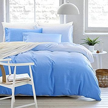 Simple Ombre Duvet Cover Set Queen Size with 2 Pillow Shams - Modern Hotel Quality Cotton Gradient Blue Lightweight Bedding Sets by LifeTB - Ultra Soft, Lightweight & Hypoallergenic