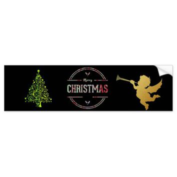 Merry Christmas Greeting Bumper Sticker