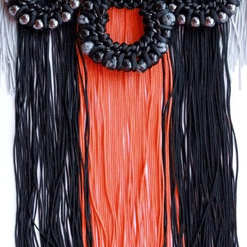 Obsidian Orange Statement Nacklace by lazysundaysshop on Etsy