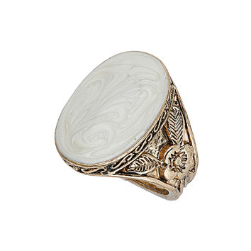 Gold and cream stone ring - Rings - Fashion Jewellery  - Accessories