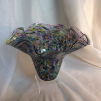 Asymmetric Hand Blown Glass Flutter Bowl.  Hand Blown Glass Art Bowl.  Multicolor Glass Flutter Bowl.