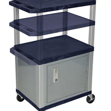 H. WILSON Rolling Mobile Multi purpose Storage Utility Tuffy Cart with Lockable Cabinet Topaz Nickel Legs