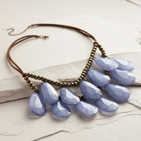 Blue Teardrop Suede Necklace