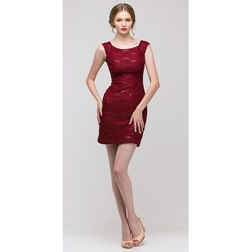 Burgundy Above Knee Lace Fitted Cocktail Dress Tank Strap