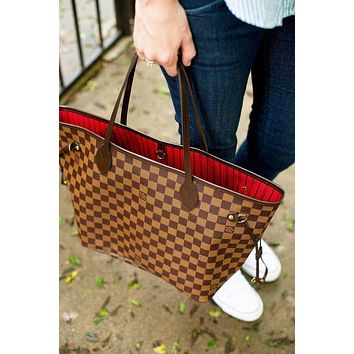 Louis Vuitton LV Classic Popular Women Leather Tote Handbag Shoulder Bag Purse Wallet Set Two-Piece