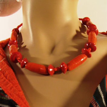 Beaded Necklace, Red Coral - Assou is One-of-a-Kind Necklace Handmade of Ceramic Beads - African Style - Holiday Gifts Etsy - Ready to Ship